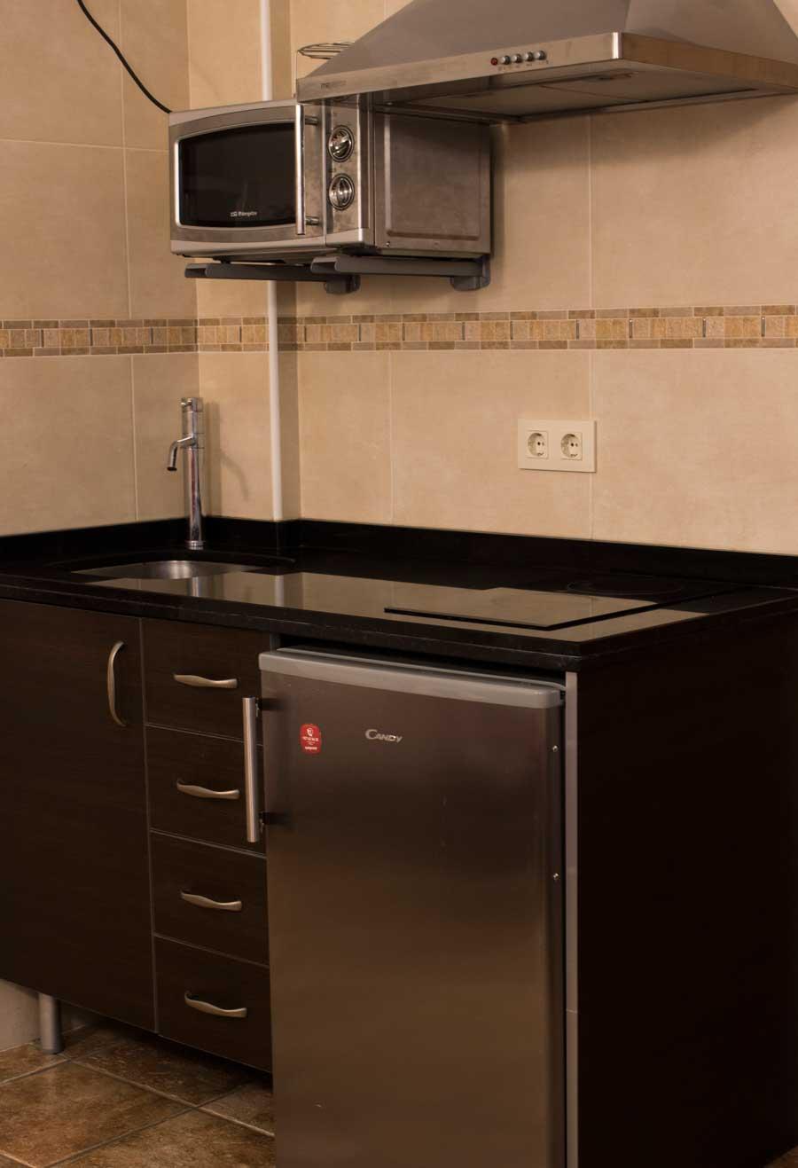 La cocina cuenta con vitrocerámica, frigorífico, microondas, tostador, cafetera y el menaje necesario